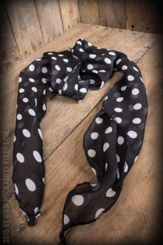 Schal / Halstuch / Haarband Polkadot, schwarz weiß von Rockabilly Rules