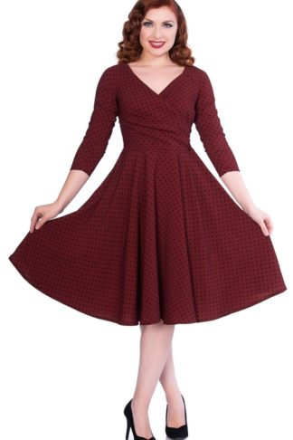 Sheen Clothing Swing Kleid Polkadot Katherine, burgund von Rockabilly Rules