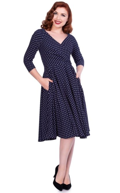 Sheen Clothing Swing Kleid Polkadot Katherine, navy von Rockabilly Rules