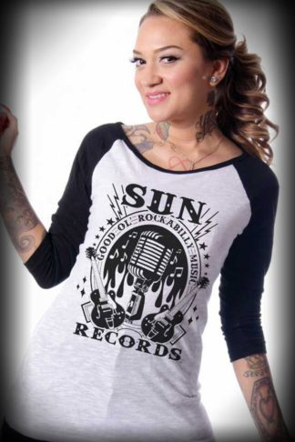 "Steady - Damen-Raglanshirt ""Sun Records"", 3/4-Ärmel von Rockabilly Rules"