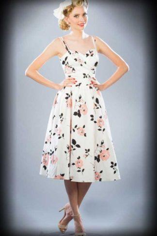 Stop Staring Sommer Kleid mit Blumen, weiß von Rockabilly Rules
