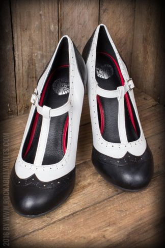 TUK Black and White Wingtip T-Strap Bombshell Heel von Rockabilly Rules