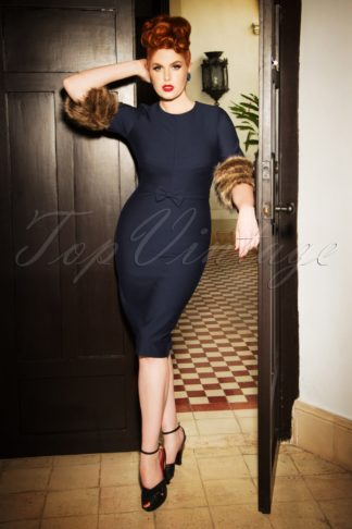 The Femme Fatale Pencil Dress in Midnight Blue
