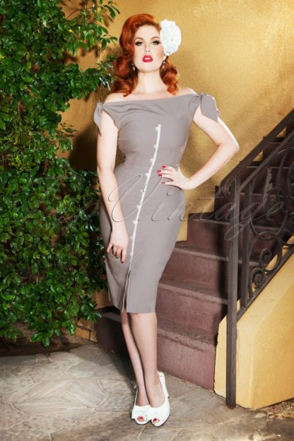 The Sadie Pencil Dress in Light Grey