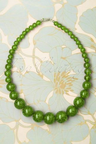 TopVintage Exclusive ~ 20s Glitter Beaded Necklace in Leaf Green