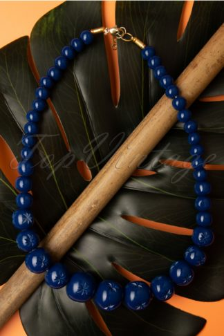 TopVintage Exclusive ~ 40s Twilight Carved Beaded Necklace in Midnight Blue