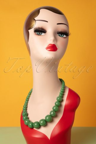 TopVintage Exclusive ~ 50s Sage Carved Beaded Necklace in Green