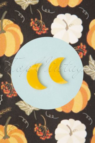 TopVintage Exclusive ~ 60s Crescent Moon Marble Stud Earrings in Yellow