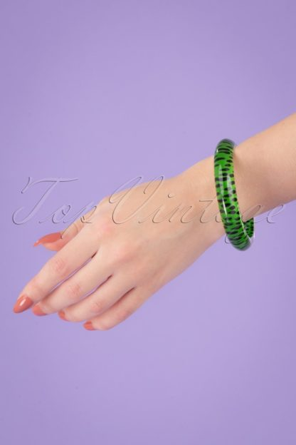 TopVintage Exclusive ~ 60s Leopard Bangle in Green