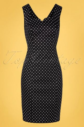 TopVintage exclusive ~ 50s Pollie Polkadot Wiggle Dress in Black