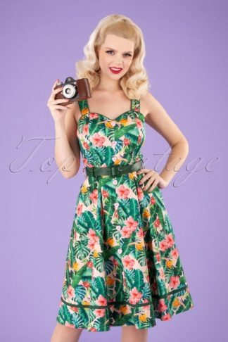 Unreal Redheads Collaboration ~ 50s Jinkx Floral Tropical Dress in Pink and Green