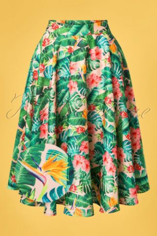 Unreal Redheads Collaboration ~ 50s Jinkx Floral Tropical Skirt in Pink and Green