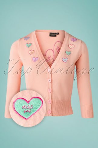 Unreal Redheads Collaboration ~ 50s Kim Love Heart Cardigan in Pink