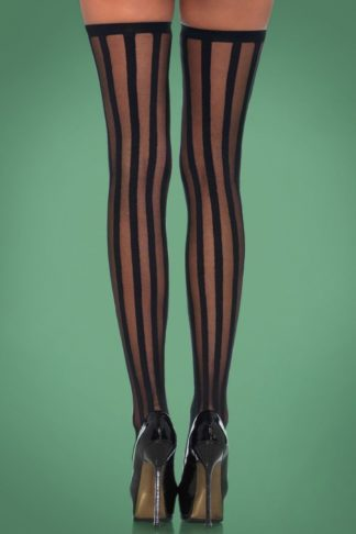 Veronica Vertical Stripe Stockings in Black