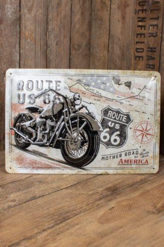 Vintage Blechschild - Route 66 Bike Map, 20 x 30 cm von Rockabilly Rules