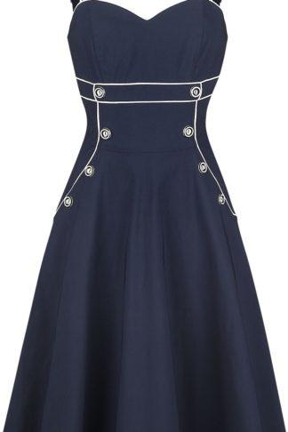Voodoo Vixen Claudia Nautical Flared Dress Mittellanges Kleid navy