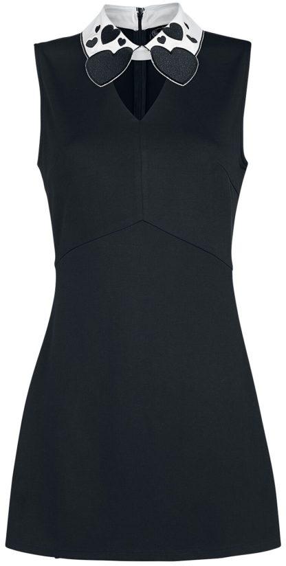 Voodoo Vixen Madison Heart-Collar Sleevesss Stretch Dress Kurzes Kleid schwarz