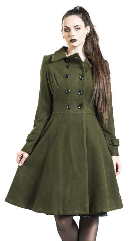 Voodoo Vixen Martha 40s Longline Coat Mantel khaki