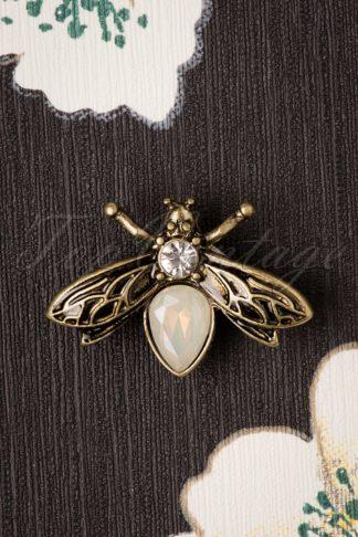 30s Crystal Bug Brooch in Gold