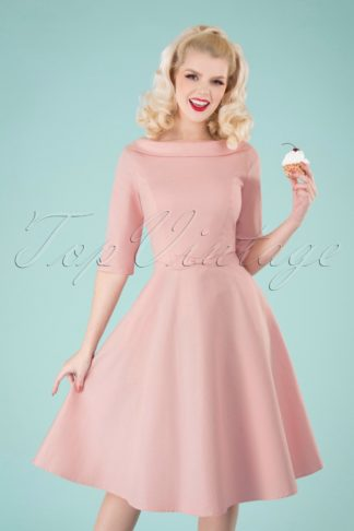 40s Bertha Plain Swing Dress in Pink