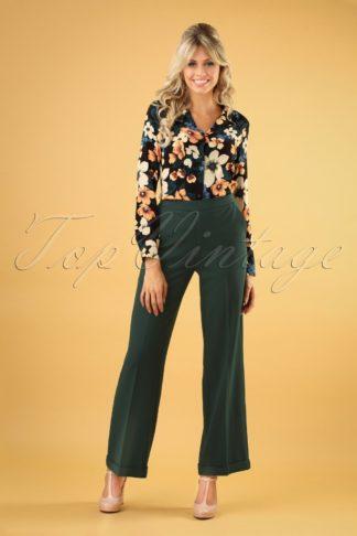 40s Ethel Woven Crepe Pants in Pine Green