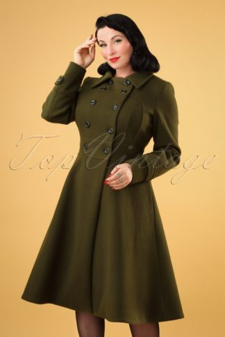 40s Martha Longline Coat in Khaki