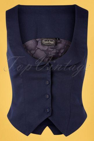 40s Tailored Suit Waistcoat in Navy