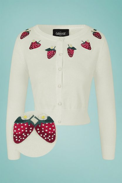 50s Abigail Strawberry Cardigan in Ivory