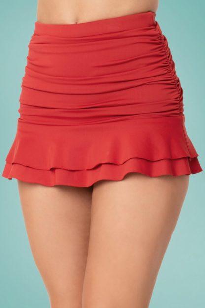 50s Alice Skirted High Waist Swim Bottom in Red