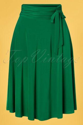 50s Aliyah Swing Skirt in Emerald Green