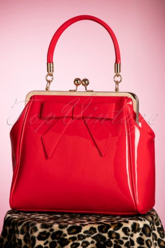 50s American Vintage Patent Bag in Red