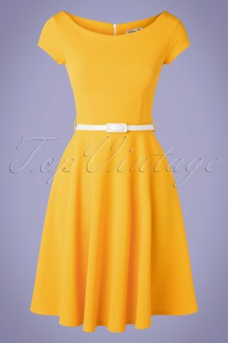 50s Arabella Swing Dress in Honey Yellow