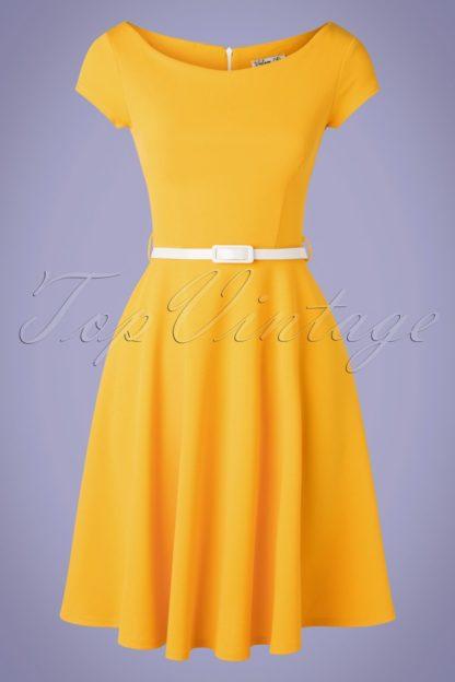 50s Arabella Swing Dress in Honey Yellow