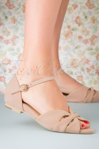 50s Athina Suede Peeptoe Flats in Blush