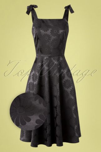 50s Begonia Floral Skater Dress in Black