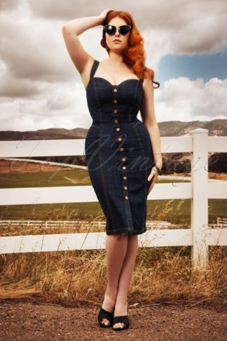 50s Bettie Denim Pencil Dress in Ultra Vinyl Blue