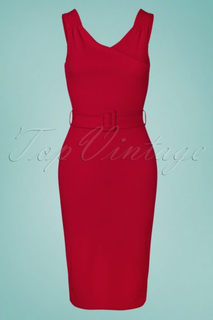 50s Betty Pencil Dress in Lipstick Red