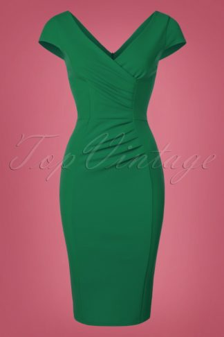 50s Brenda Pencil Dress in Emerald Green