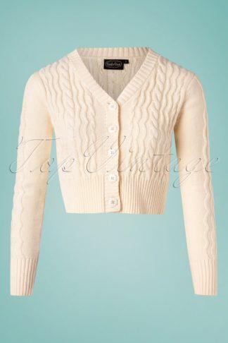 50s Camilla Fishermans Knit Crop Cardigan in Cream
