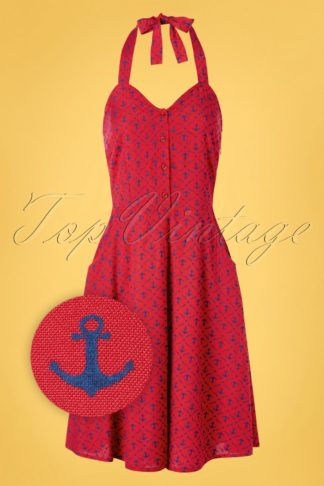 50s Candy Anchor Halter Dress in Red