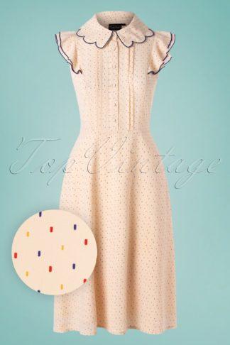 50s Caroline Tea Dress in Cream