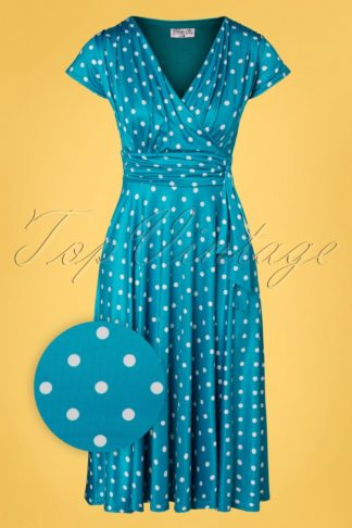 50s Caryl Polkadot Swing Dress in Sky Blue