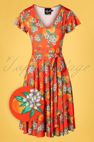 50s Castellana Swing Dress in Orange