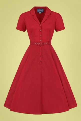 50s Caterina Swing Dress in Strawberry Red