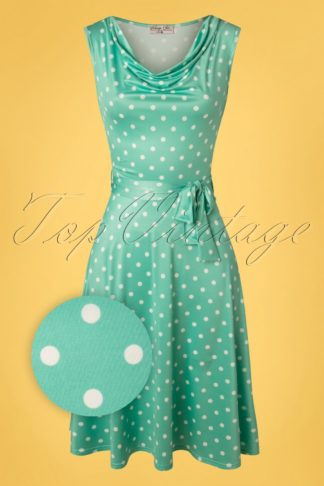 50s Charley Polkadot Swing Dress in Mint
