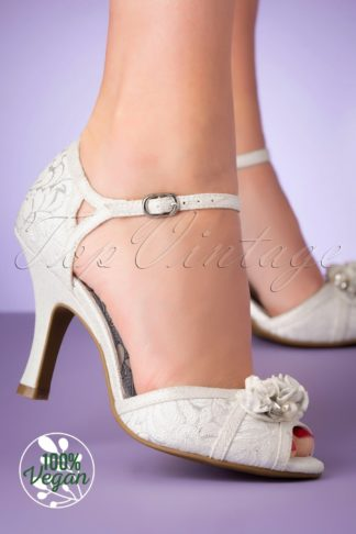 50s Clarissa Peeptoe Pumps in White and Silver
