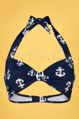 50s Classic Anchors Bikini Top in Navy