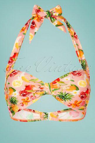 50s Classic Fruit Punch Bikini Top in Light Pink