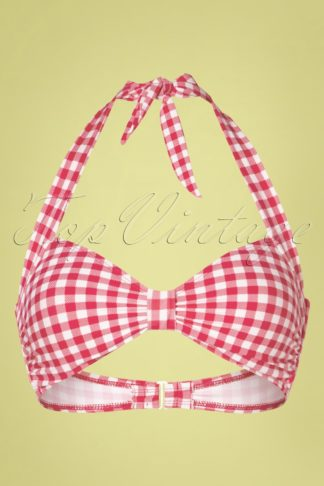 50s Classic Gingham Bikini Top in Red and White