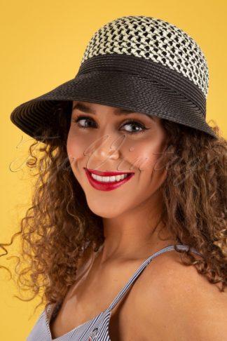 50s Coruna Straw Hat in Black and White
